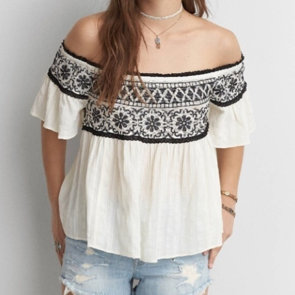 14ec8b4f584 American Eagle Outfitters Tops | White And Black Embroidered Off The ...